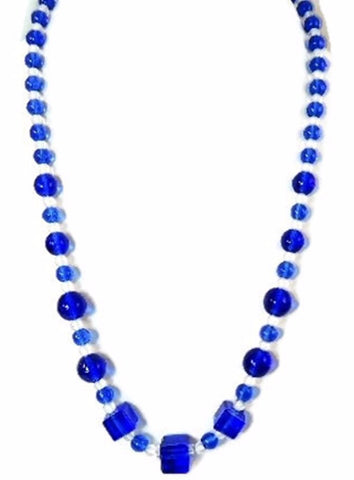 Deco Royal Blue Czech Glass Bead Necklace - Premier Estate Gallery  - 1