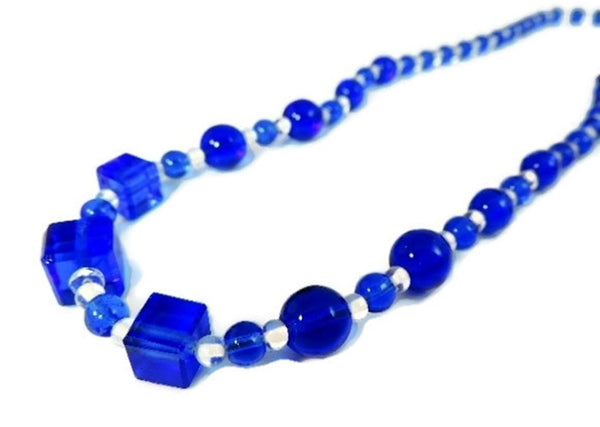 Deco Royal Blue Czech Glass Bead Necklace - Premier Estate Gallery  - 2