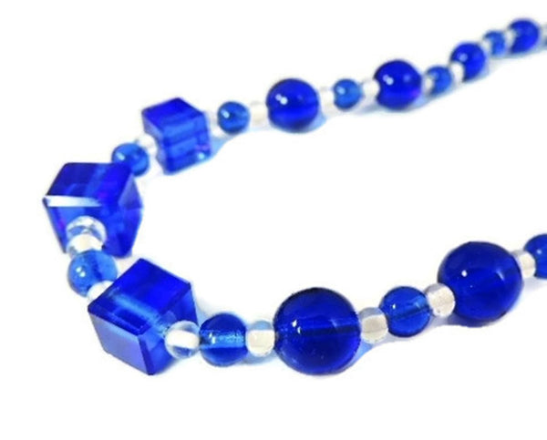 Deco Royal Blue Czech Glass Bead Necklace - Premier Estate Gallery  - 3