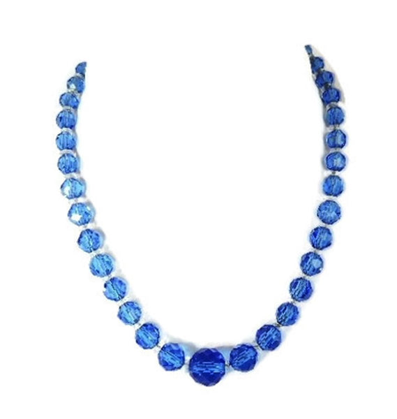 Deco Czech Crystal Bead Necklace Cornflower Blue - Premier Estate Gallery  - 2