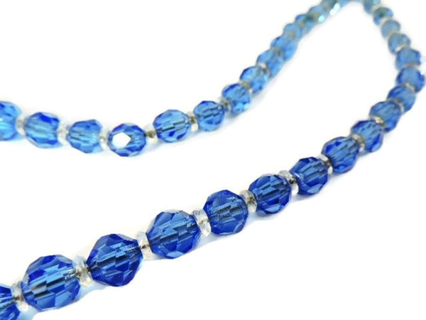 Deco Czech Crystal Bead Necklace Cornflower Blue - Premier Estate Gallery  - 4