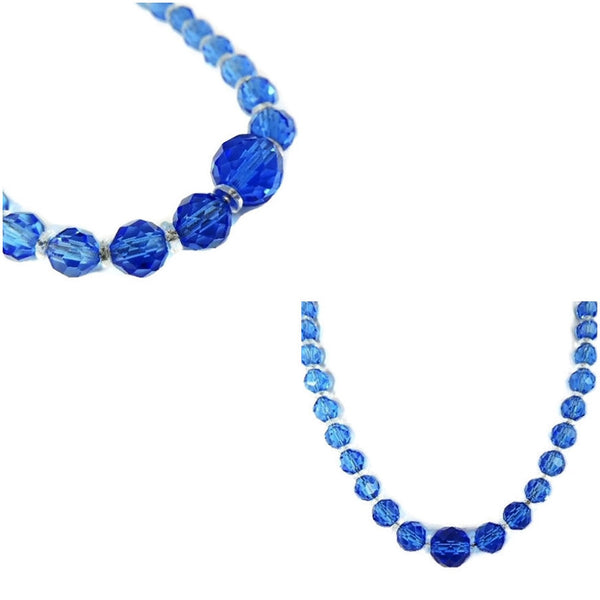 Deco Czech Crystal Bead Necklace Cornflower Blue - Premier Estate Gallery  - 5