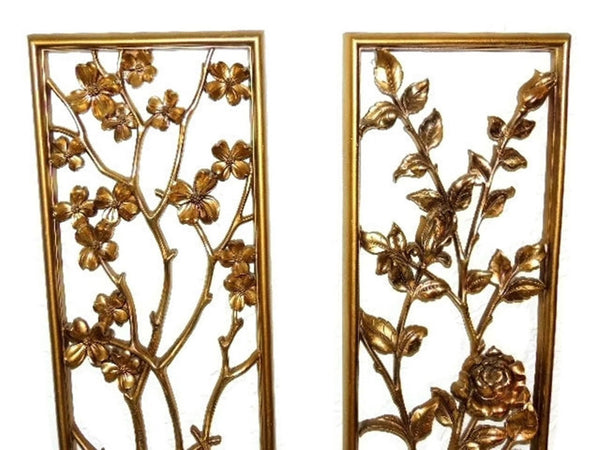 Syroco Oriental Flower Wall Plaques over 3 Ft Tall 1950s - Premier Estate Gallery  - 2