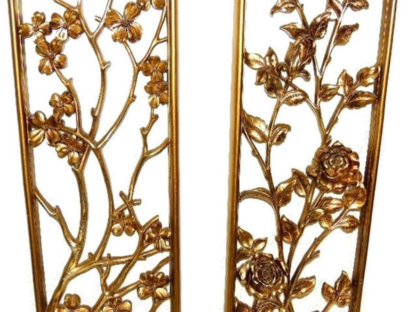 Syroco Oriental Flower Wall Plaques over 3 Ft Tall 1950s - Premier Estate Gallery  - 3