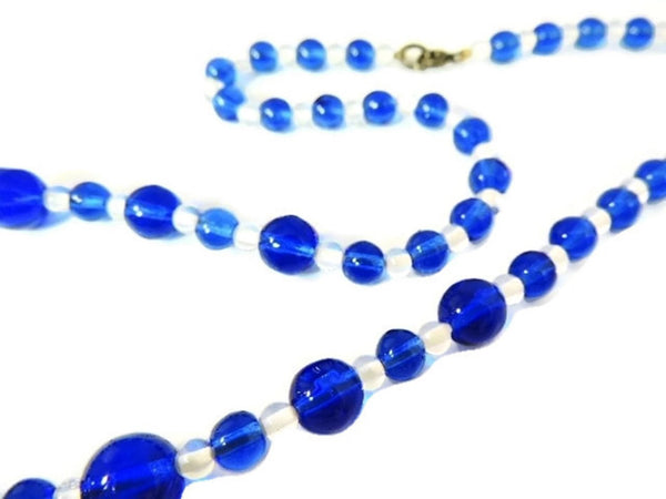 Deco Royal Blue Czech Glass Bead Necklace - Premier Estate Gallery  - 4