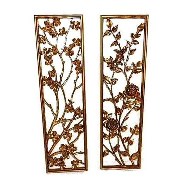 Syroco Oriental Flower Wall Plaques over 3 Ft Tall 1950s
