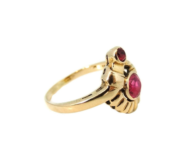 Ruby Etruscan Revival Ring 10k Gold Vintage - Premier Estate Gallery  - 2