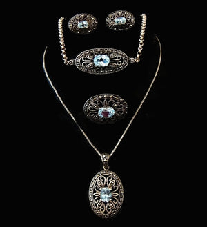 Blue Topaz Marcasite Jewelry Set Victorian Revival Sterling Silver - Premier Estate Gallery  - 1