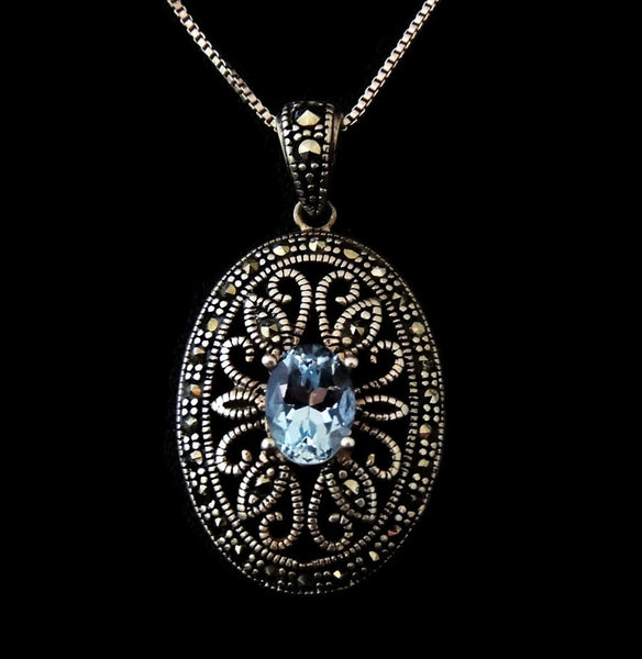 Blue Topaz Marcasite Jewelry Set Victorian Revival Sterling Silver - Premier Estate Gallery  - 2