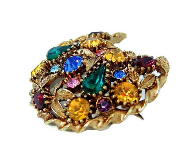 Rainbow Rhinestone Crescent Moon Brooch Big Vintage - Premier Estate Gallery  - 3