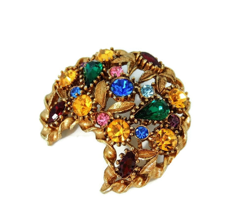 Rainbow Rhinestone Crescent Moon Brooch Big Vintage - Premier Estate Gallery  - 1