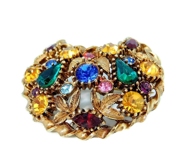 Rainbow Rhinestone Crescent Moon Brooch Big Vintage - Premier Estate Gallery  - 2