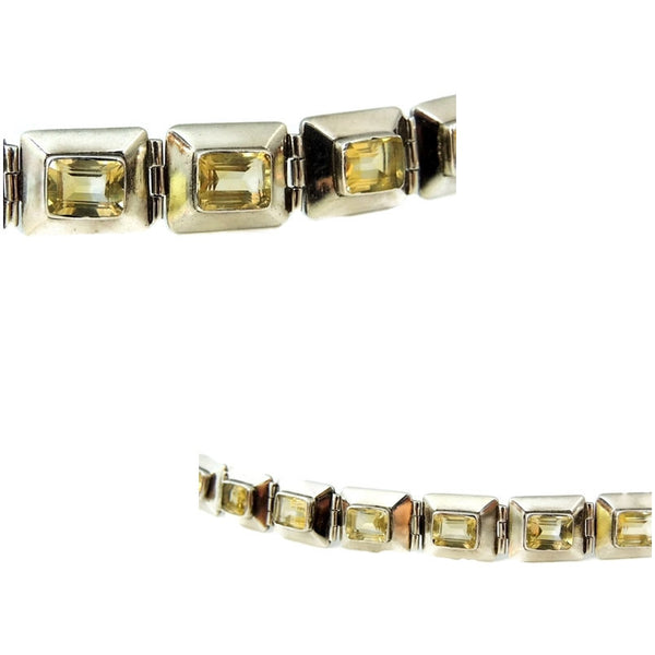 Citrine Silver Panel Link Bracelet Over 14 ctw Gemstones Silver - Premier Estate Gallery  - 5