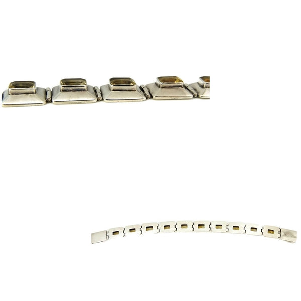 Citrine Silver Panel Link Bracelet Over 14 ctw Gemstones Silver - Premier Estate Gallery  - 6