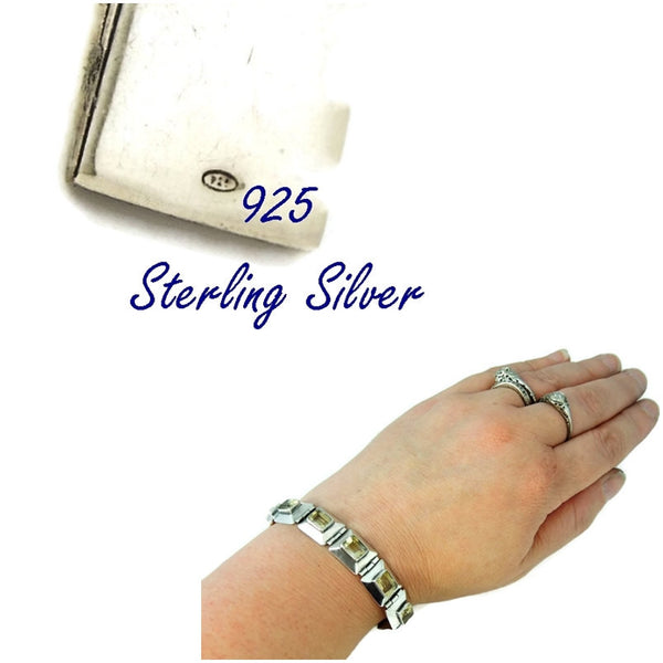Citrine Silver Panel Link Bracelet Over 14 ctw Gemstones Silver - Premier Estate Gallery  - 3