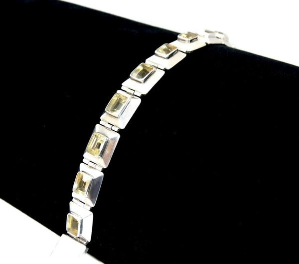 Citrine Silver Panel Link Bracelet Over 14 ctw Gemstones Silver - Premier Estate Gallery  - 2
