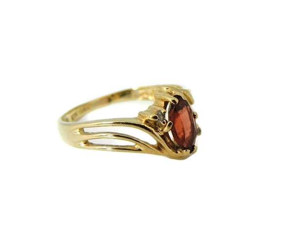 Garnet Ring 10k Gold Diamond Accents - Premier Estate Gallery  - 2