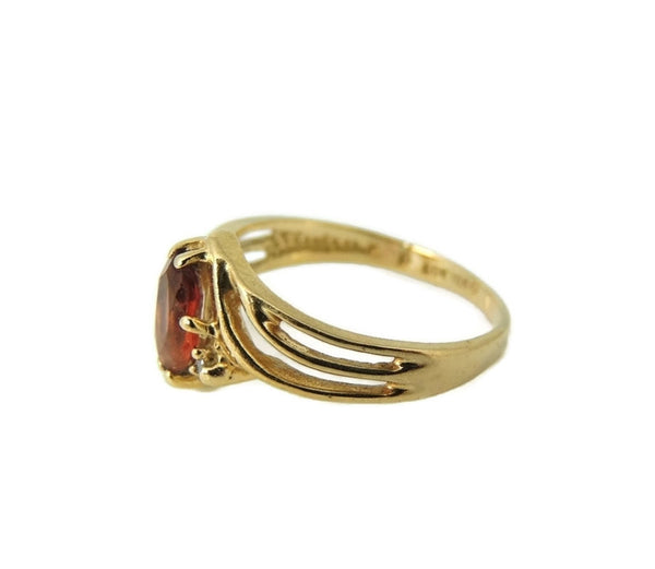 Garnet Ring 10k Gold Diamond Accents - Premier Estate Gallery  - 4