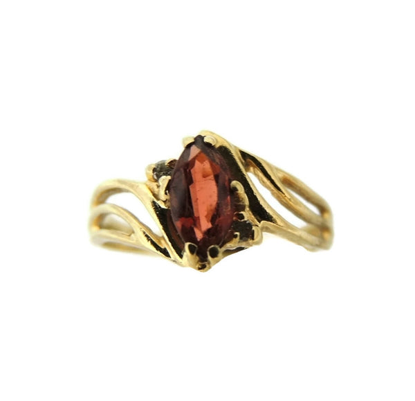 Garnet Ring 10k Gold Diamond Accents - Premier Estate Gallery  - 3