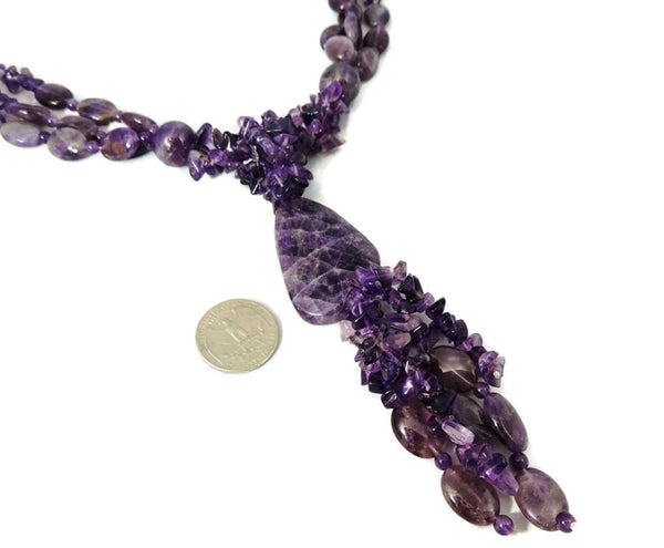Impressive Amethyst Lariat Necklace 1025 carats 205g Gemstones - Premier Estate Gallery  - 2