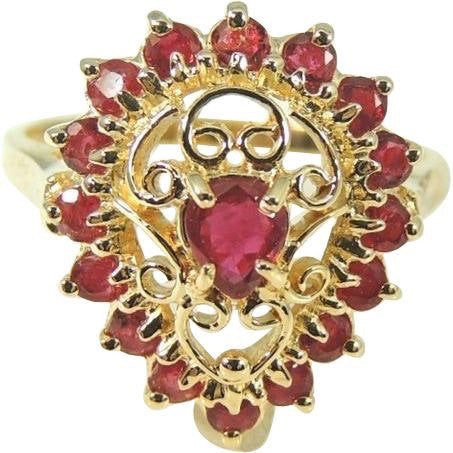 RUBY Filigree Ring  10k Gold  .94 ctw Estate - Premier Estate Gallery  - 2