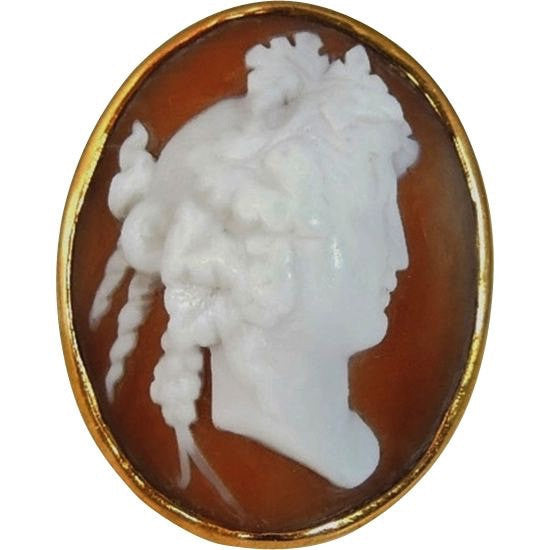 HUGE Antique Cameo Ring 14k Gold