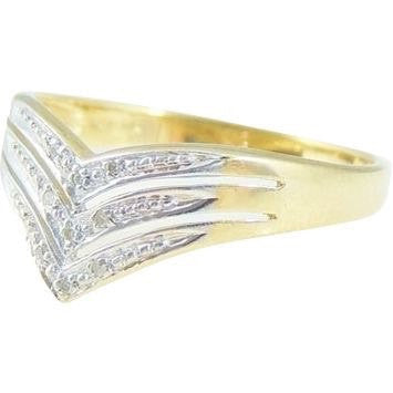 Diamond Chevron Ring Band 10k Gold