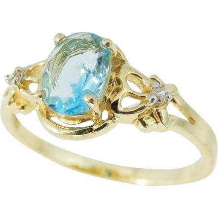 Swiss Blue Topaz Ring 14k Gold Diamond Accents
