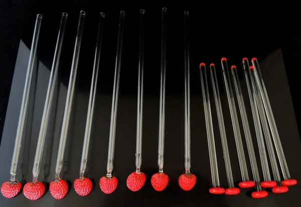 Vintage Strawberry Cocktail Stirrers Spoon Straws GLASS c1950s