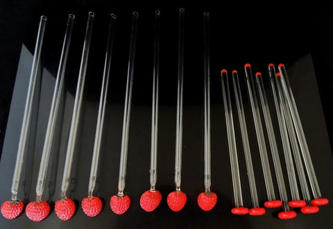 Vintage Strawberry Cocktail Stirrers Spoon Straws GLASS c1950s - Premier Estate Gallery  - 1