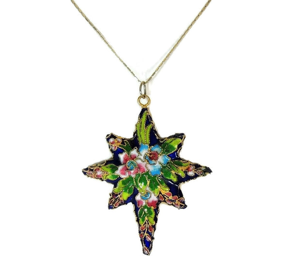 Vintage Porcelain Enamel Star Pendant Ornament Gilt Chinese 2.75 inch - Premier Estate Gallery  - 1