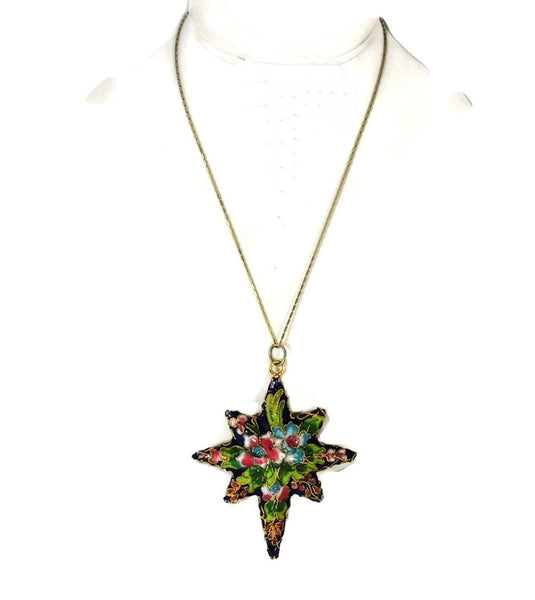 Vintage Porcelain Enamel Star Pendant Ornament Gilt Chinese 2.75 inch - Premier Estate Gallery  - 4