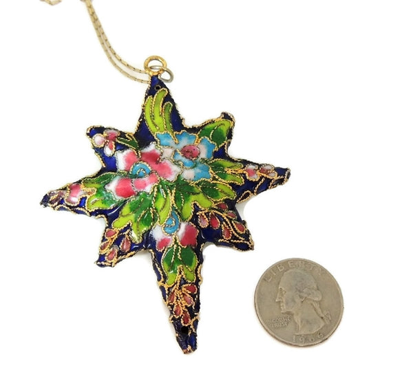 Vintage Porcelain Enamel Star Pendant Ornament Gilt Chinese 2.75 inch - Premier Estate Gallery  - 5