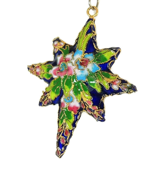 Vintage Porcelain Enamel Star Pendant Ornament Gilt Chinese 2.75 inch - Premier Estate Gallery  - 2