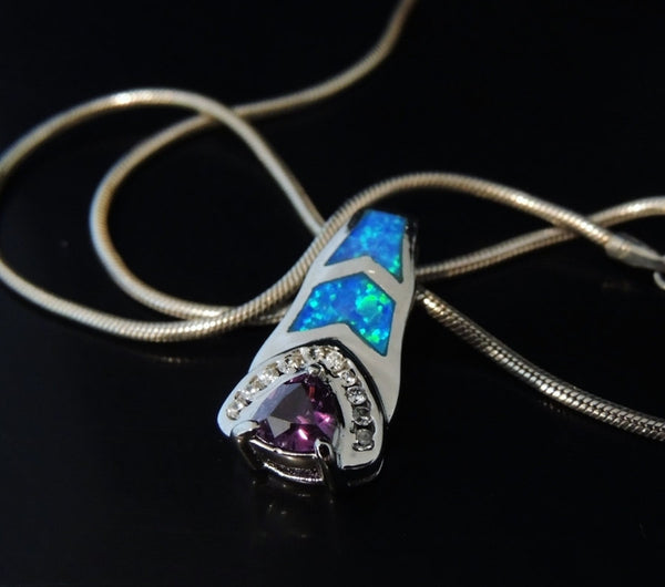 Inlaid Opal Amethyst Sterling Silver CZ Pendant with Chain - Premier Estate Gallery  - 2