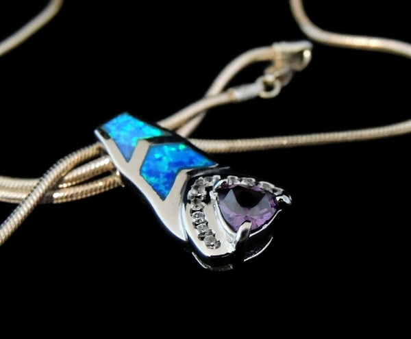 Inlaid Opal Amethyst Sterling Silver CZ Pendant with Chain - Premier Estate Gallery  - 3