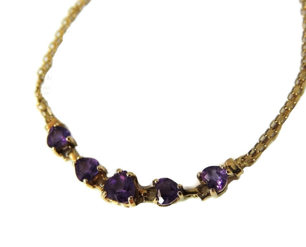 Amethyst Heart Bracelet 10k Gold Child or Small 6.25 in