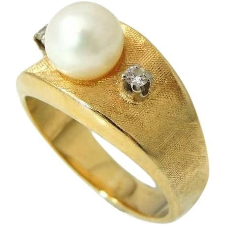Cultured Pearl Diamond Ring 14k Gold  Vintage