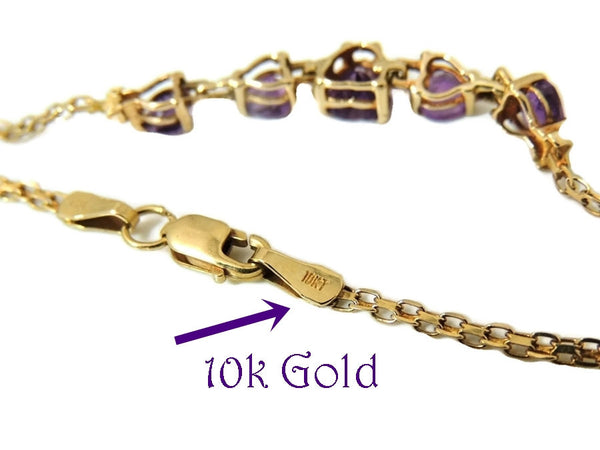 Amethyst Heart Bracelet 10k Gold Child or Small 6.25 in - Premier Estate Gallery  - 3