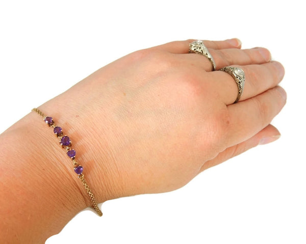 Amethyst Heart Bracelet 10k Gold Child or Small 6.25 in - Premier Estate Gallery  - 4