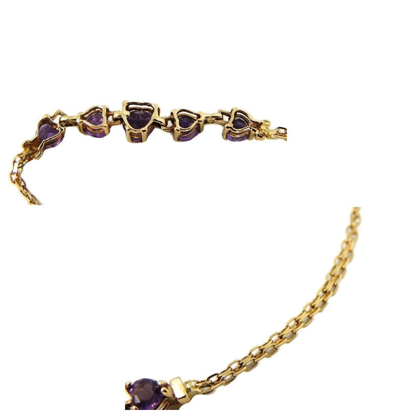 Amethyst Heart Bracelet 10k Gold Child or Small 6.25 in - Premier Estate Gallery  - 5