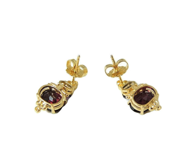 Gold Rhodolite Garnet Tanzanite Earrings 14k Gold - Premier Estate Gallery  - 4