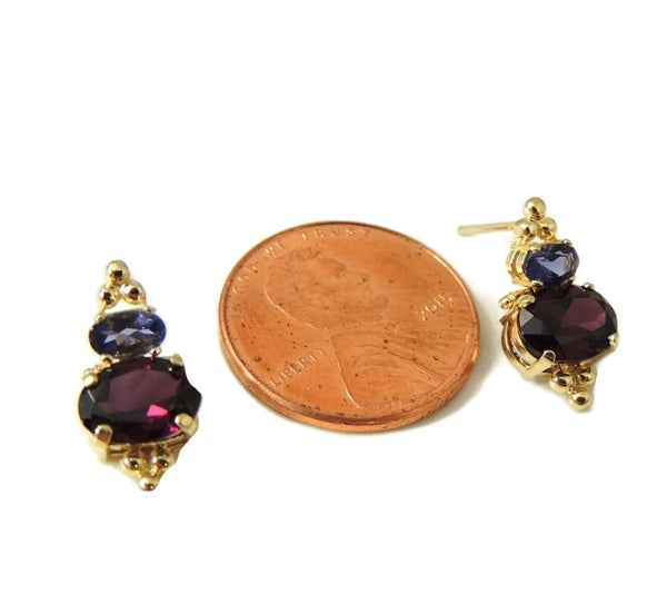 Gold Rhodolite Garnet Tanzanite Earrings 14k Gold - Premier Estate Gallery  - 5