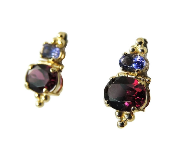 Gold Rhodolite Garnet Tanzanite Earrings 14k Gold - Premier Estate Gallery  - 2