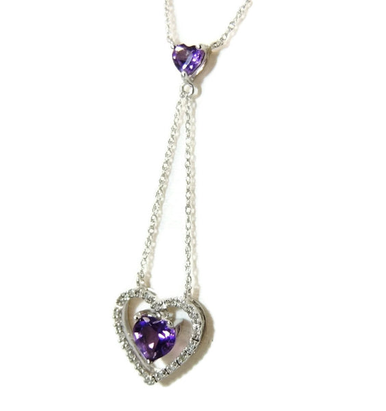Floating Amethyst Diamond Heart Lariat Necklace 10k Gold - Premier Estate Gallery  - 3