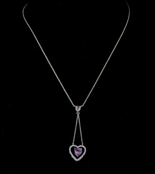 Floating Amethyst Diamond Heart Lariat Necklace 10k Gold - Premier Estate Gallery  - 2