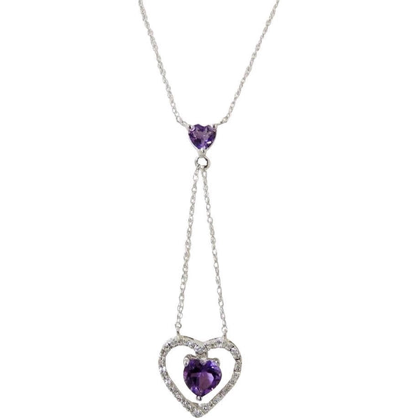 Floating Amethyst Diamond Heart Lariat Necklace 10k Gold