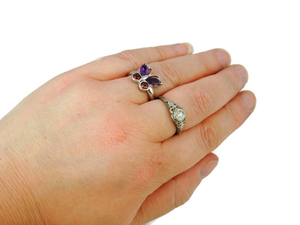 Gemstone Butterfly Ring 14k White Gold - Premier Estate Gallery  - 5