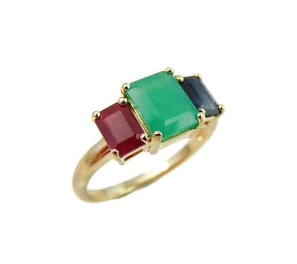 Emerald Sapphire Ruby 14k Gold Ring 2.77 ctw Gemstones - Premier Estate Gallery  - 2