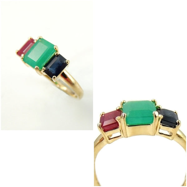 Emerald Sapphire Ruby 14k Gold Ring 2.77 ctw Gemstones - Premier Estate Gallery  - 3